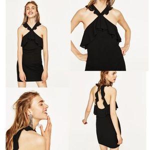 16378cc1 Zara Collection Ruffled Halter Club-wear Dress L